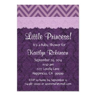 Purple Lace Little Princess Girl Baby Shower S21C 5x7 Paper Invitation Card