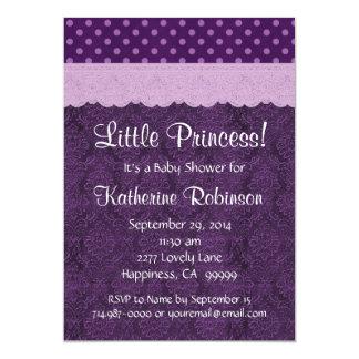 Purple Lace Little Princess Girl Baby Shower S21D 5x7 Paper Invitation Card