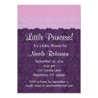 Purple Lace Little Princess Girl Baby Shower S21E 5x7 Paper Invitation Card
