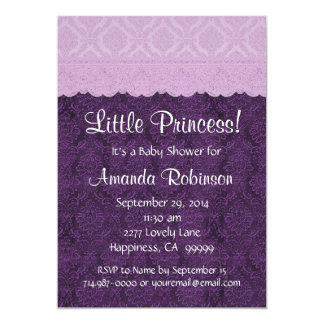 Purple Lace Little Princess Girl Baby Shower S21G 5x7 Paper Invitation Card