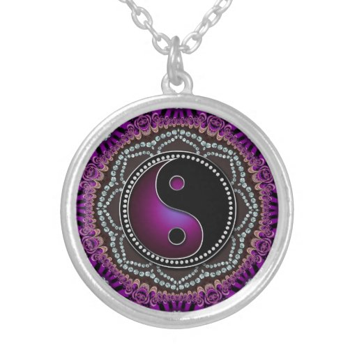 Purple Lace Lotus Balance YinYang New Age Sparkle Silver Plated Necklace
