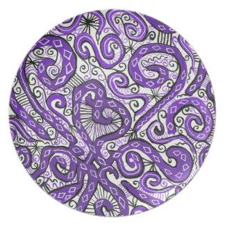 purple lace melamine plate