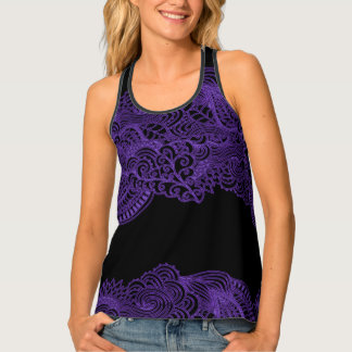Purple Lace On Your Choice of Color Tank Top