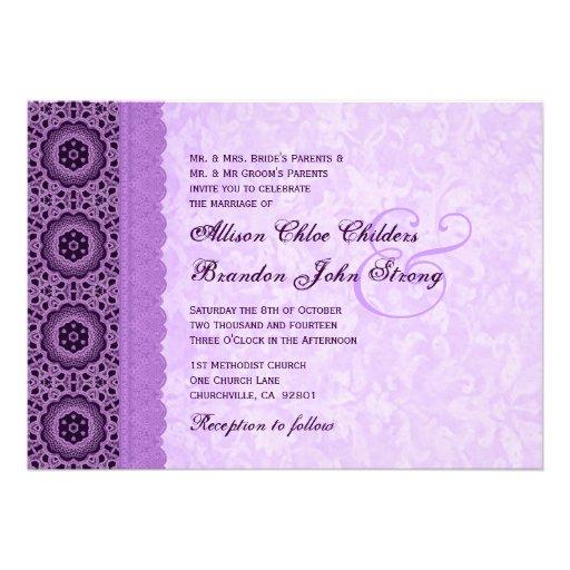 Purple Lace Pattern Monogram Wedding Template Personalized Invitations