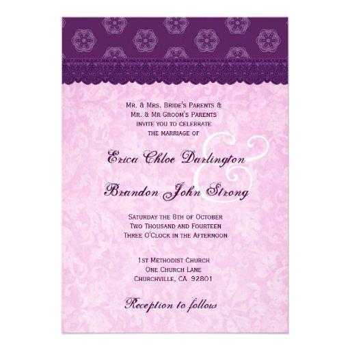 Purple Lace Pattern Monogram Wedding Template V9 5 X 7 Invitation