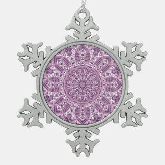 Purple Lace Pattern Snowflake Pewter Christmas Ornament