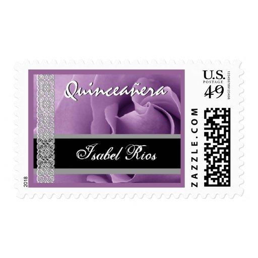 PURPLE Lace Rose Quinceanera - Custom Name Postage