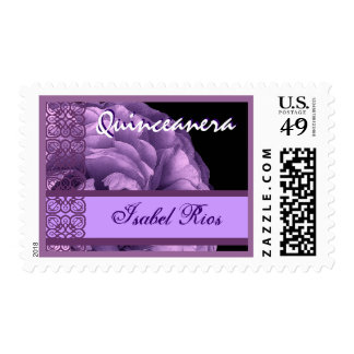 PURPLE Lace Rose Quinceanera - Custom Name Postage