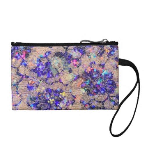 Purple Lace Roses Change Purses