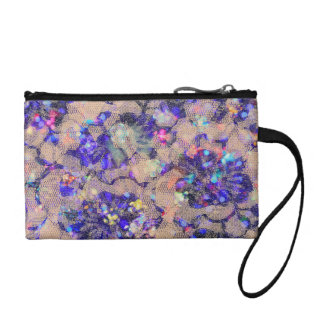 Purple Lace Roses Change Purse