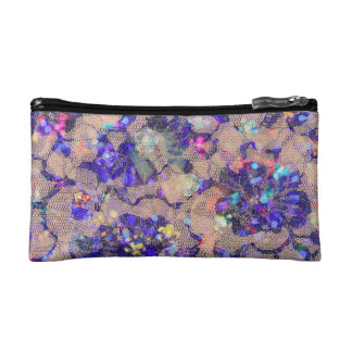 Purple Lace Roses Cosmetic Bags