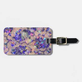 Purple Lace Roses Bag Tags