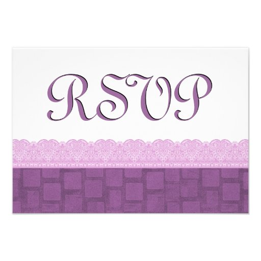 Purple Lace RSVP Wedding Personalized Announcements
