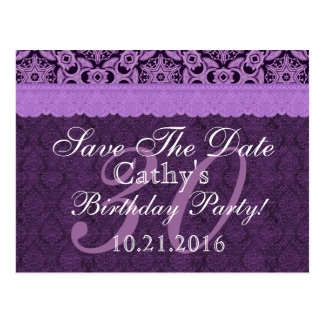Purple Lace Save the Date Birthday V113 Postcard