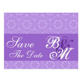 Purple Lace Stars Pattern Save the  Date V6 Postcard