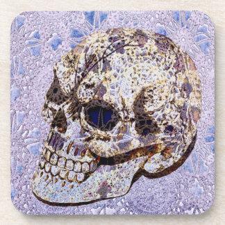 purple lace sugar skull coaster