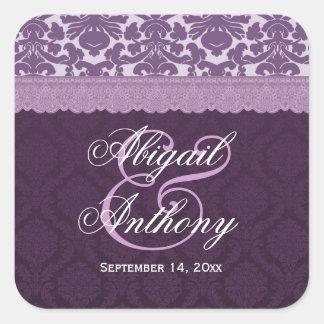Purple Lace Wedding Damask V08 Square Sticker
