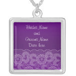 Purple Lace Wedding Personalized Necklace