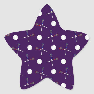 Purple lacrosse pattern star stickers