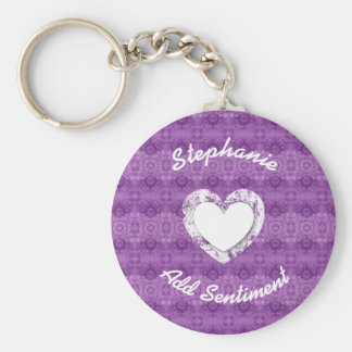 Purple Lacy Grunge Wedding Collection Z16 Keychain