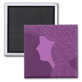 Purple Lady 2 Inch Square Magnet