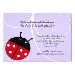 Purple Lady Bug Baby Shower Invitation