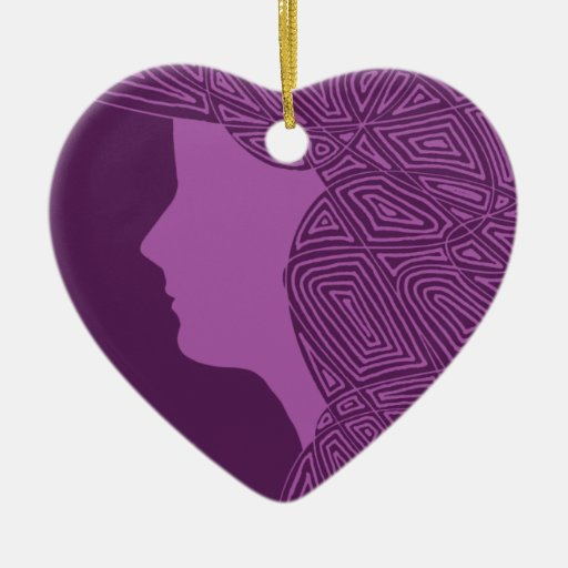 Purple Lady Double-Sided Heart Ceramic Christmas Ornament