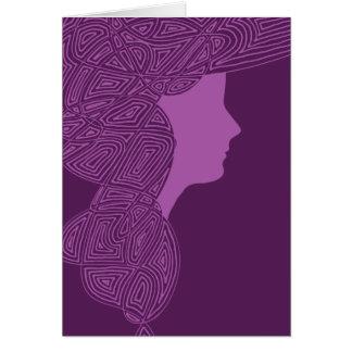 Purple Lady Greeting Cards