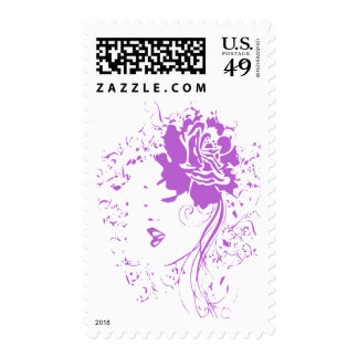 Purple Lady of Chronic Pain Postage Stamp