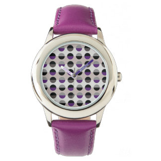 Purple Lady Polka Dots Retro Chic Modern Stylish Wristwatch