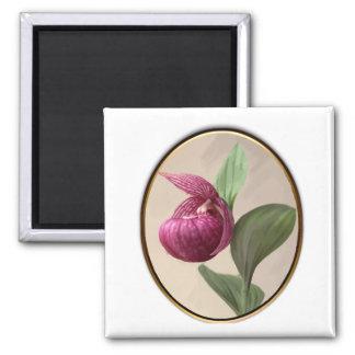 Purple Lady Slipper Framed Magnet