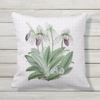 Purple Lady Slipper Orchid Outdoor Pillow 16x16