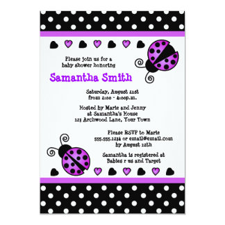 Purple Ladybug Baby Shower Black White Polka Dots Card