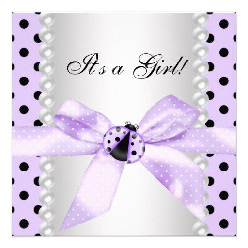 Purple Ladybug Baby Shower Personalized Invitations