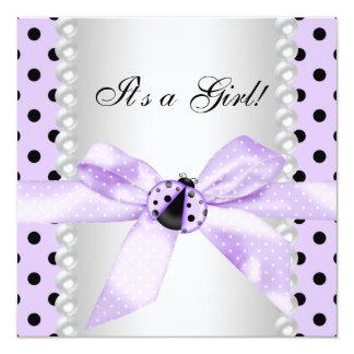 "Purple Ladybug Baby Shower 5.25"" Square Invitation Card"