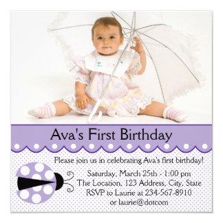 Purple Ladybug Birthday Party Card