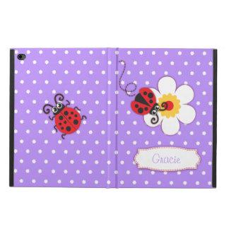 Purple ladybug flower dots name ipad case