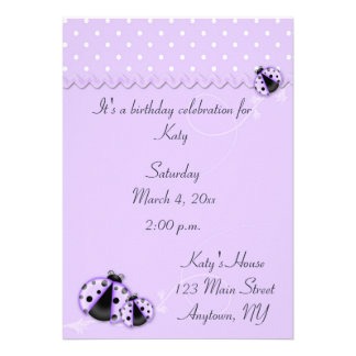 Purple Ladybugs Invitation