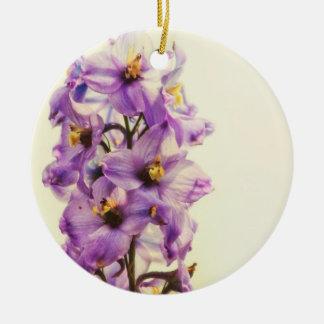 Purple Larkspur Delphinium Ceramic Ornament
