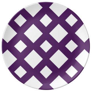Purple Lattice on White Dinner Plate