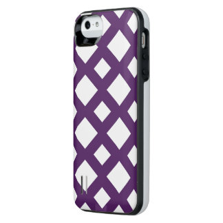 Purple Lattice on White iPhone SE/5/5s Battery Case