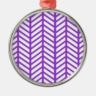 Purple Lattice Stripe Metal Ornament