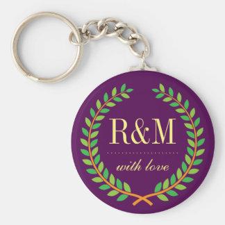 Purple Laurel Wreath Monogram Wedding Keychain