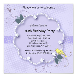 Purple Lavender 80th Birthday Party | DIY Text Card
