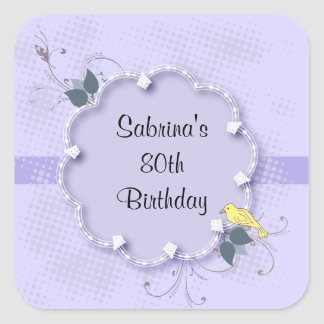 Purple Lavender 80th Birthday Party | DIY Text Square Sticker