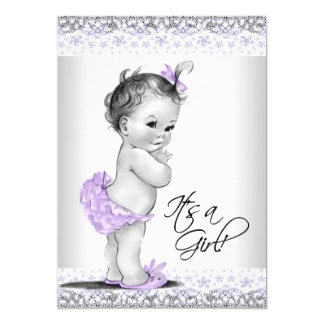 Purple Lavender and Gray Baby Girl Shower Card