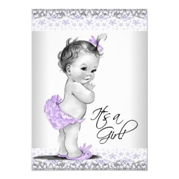 Toddler & Baby themed Purple Lavender and Gray Baby Girl Shower Card
