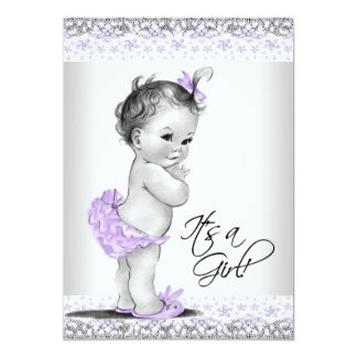 Purple Lavender and Gray Baby Girl Shower Custom Announcements