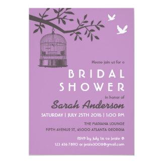 Purple Lavender Bird Cage Rustic Shower Invitation