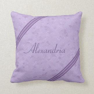 Purple Lavender Custom Striped Monogram Throw Pillow